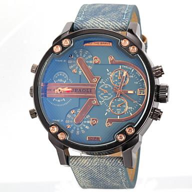 זול שעוני גברים-JUBAOLI בגדי ריקוד גברים שעונים צבאיים שעון יד קווארץ עור שחור / כחול / אפור אזור זמן כפול אנלוגי קסם - אפור צהוב כחול בהיר שנה אחת חיי סוללה / SSUO LR626