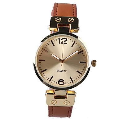 Mulheres Relógio de Moda Quartzo Impermeável PU Banda Brilhante Marrom Marron