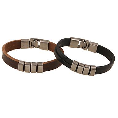 Heren Lederen armbanden Met de hand gemaakt Leder Zwart Bruin Sieraden Voor Feest Kerstcadeaus