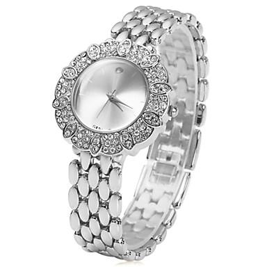 Mulheres Relógio de Moda Quartzo imitação de diamante Aço Inoxidável Banda Flor Prata Dourada Dourado Prata