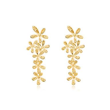 Brincos Compridos Cristal Prata Dourado Jóias Para Casamento Festa Diário Casual 1 Conjunto