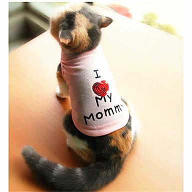 Gatos / Cães Camiseta Branco / Rosa Roupas para Cães Verão Carta e Número Da Moda