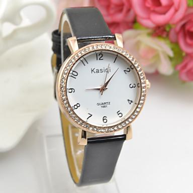 Mulheres Relógio de Moda Quartzo Relógio Casual Couro Banda Preta