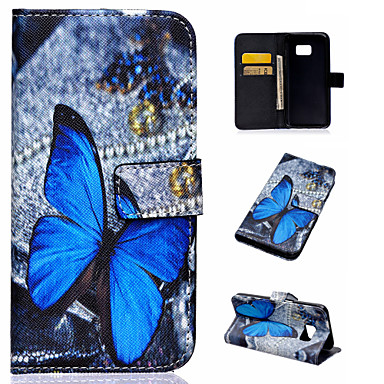 Para Samsung Galaxy Capinhas Porta-Cartão / Com Suporte / Flip / Estampada / Magnética Capinha Corpo Inteiro Capinha Borboleta Couro PU