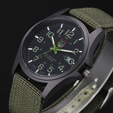 a9128956d130 abordables Relojes de Hombre-Hombre Reloj Militar Reloj de Pulsera Cuarzo  Negro   Blanco