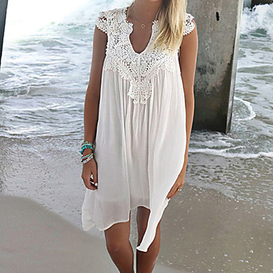 cheap Cover Ups-Women's Solid Tassel Halter Neck White Cover-Up Swimwear - Solid Colored Lace M L XL White / One-Pieces
