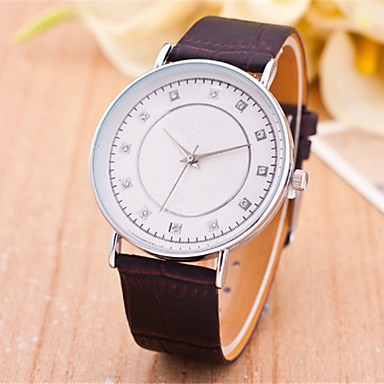 Mulheres Relógio de Moda Quartzo Couro Banda Preta Marrom Preto Marron