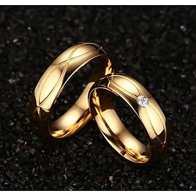 Dames Statement Ring - Titanium Staal, Verguld Modieus 5 / 6 / 7 Gouden Voor Bruiloft / Feest / Dagelijks