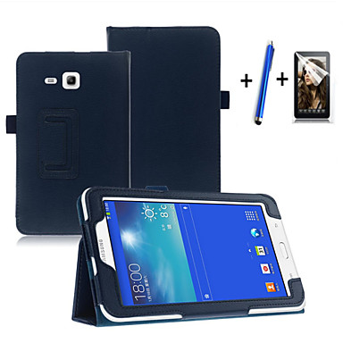 voordelige Samsung Tab-serie hoesjes / covers-hoesje Voor Samsung Galaxy Tab 3 Lite met standaard / Automatisch aan / uit / Flip Volledig hoesje Effen Hard PU-nahka