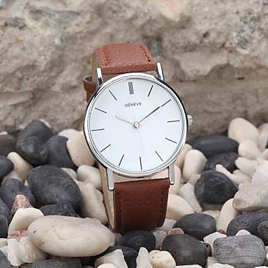 cheap Men's Watches-Men's Wrist Watch Quartz Leather Black / White / Brown Casual Watch Analog Classic Minimalist - White Black Brown One Year Battery Life / Tianqiu 377