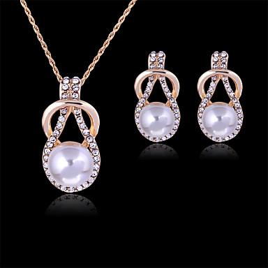 Mulheres Rosa ouro Pérola Strass Imitações de Diamante Rosa Folheado a Ouro Conjunto de jóias Brincos Colares - Fofo Festa Fashion