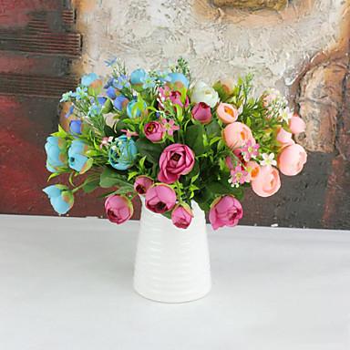 10 hoofden camellia bloemen, zijden bloemen zijden bloem kunstbloemen voor huisdecoratie bloem kit 1pc / set