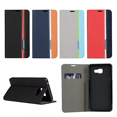 Недорогие Чехлы и кейсы для Galaxy A7-Кейс для Назначение SSamsung Galaxy A7(2016) / A5(2016) / A3(2016) Бумажник для карт / со стендом / Флип Чехол Геометрический рисунок Кожа PU
