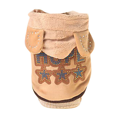 Dog Costume Hoodie Dog Clothes Letter & Number Brown Cotton Costume For Pets Men's Women's Cute Cosplay