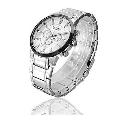 CURREN Masculino Relógio de Pulso Quartzo Impermeável Aço Inoxidável Banda Preta Branco Preto