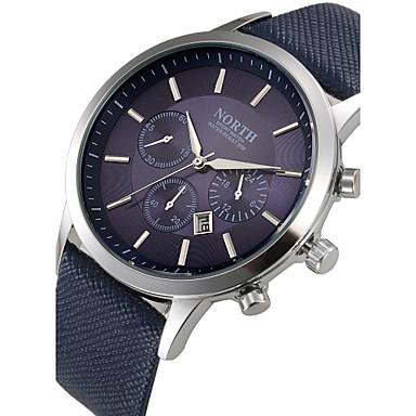 남성용 손목 시계 가죽 블랙 / 블루 / 브라운 달력 멋진 아날로그 클래식 - 블랙 브라운 블루 / 스테인레스 스틸
