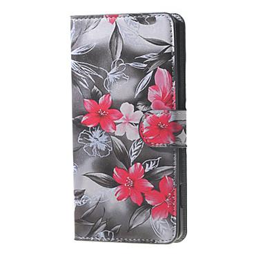 flores vermelhas que florescem padrão carteira aleta de couro ficar caso com slot para cartão de microsoft lumia 650
