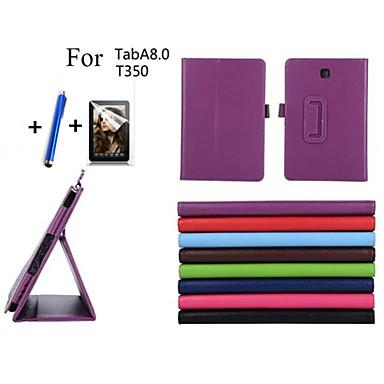 hoesje Voor Samsung Galaxy Tabblad Een 8.0 met standaard Automatisch aan / uit Flip Volledig hoesje Effen Kleur Hard PU-nahka voor