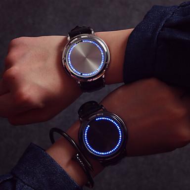 Homens Mulheres Casal Relógio de Moda Relógio Esportivo Digital Tela de toque Couro Banda Cores Múltiplas