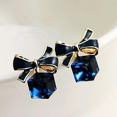 Feminino Brincos Compridos Cristal Pedras preciosas sintéticas Liga Formato de Laço Jóias Para