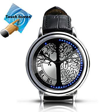 Heren Smart horloge Modieus horloge Digitaal Aanraakscherm LED Leer Band Amulet Meerkleurig