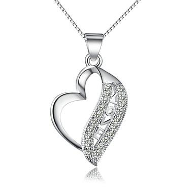 Dames Kristal Sterling zilver Zilver Hangertjes ketting Kettingen - Sterling zilver Zilver Liefde Kettingen Voor Bruiloft Feest