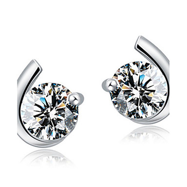 Oorknopjes Zirkonia Luxe Sieraden Sterling zilver Zirkonia Kubieke Zirkonia MOON Zilver Sieraden Voor Bruiloft Feest Dagelijks 2 stuks