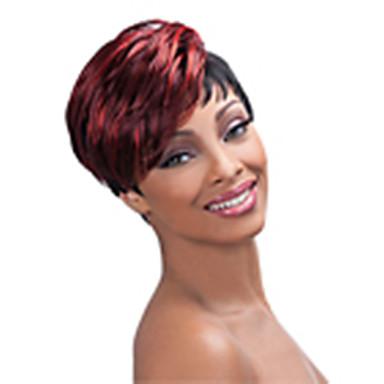 Perucas sintéticas Liso Densidade Sem Touca Mulheres Vermelho preto peruca Curto Cabelo Sintético