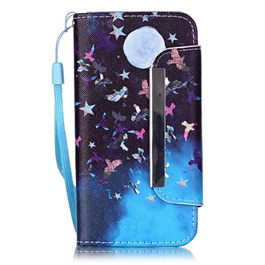 Mert iPhone 5 tok Pénztárca / Kártyatartó / Állvánnyal Case Teljes védelem Case Pillangó Kemény Műbőr Apple iPhone SE/5s/5
