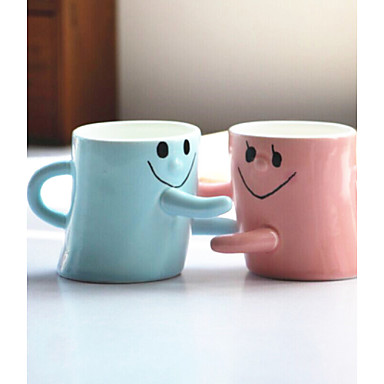 2PCS Men And Women Friends Birthday Gift Lovers Smiling Face Hug For A Cup Of Couple