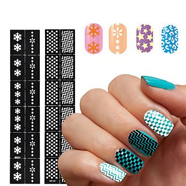 1pcs nail sticker template-3.5*18cm-PVC-Virág-Ujj / Toe-3D-s akril körömsablonok