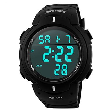 SKMEI Heren Sporthorloge Digitaal horloge Digitaal LCD Kalender Chronograaf Waterbestendig alarm Rubber Band Zwart