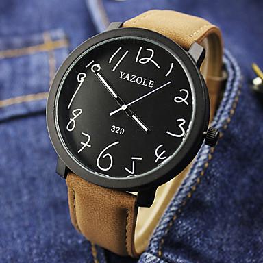 남성용 손목 시계 석영 캐쥬얼 시계 가죽 밴드 참 블랙 브라운
