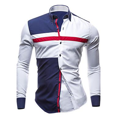 رجالي قطن قميص قياس كبير نحيل ياقة مفرودة بقع الأزرق والأبيض ألوان متناوبة أبيض L / كم طويل / الربيع / الخريف