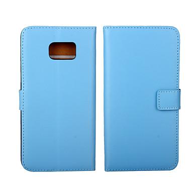 Недорогие Чехлы и кейсы для Galaxy S4 Mini-Кейс для Назначение SSamsung Galaxy S6 edge plus / S6 edge / S6 Кошелек / Бумажник для карт / со стендом Чехол Однотонный Настоящая кожа