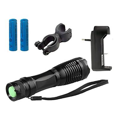ZK10 Светодиодные фонари Светодиодная лампа 1100 lm 5 Режим Cree XM-L T6 с батареей и зарядным устройством Масштабируемые Фокусировка