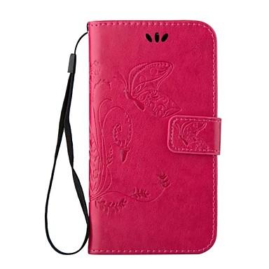 Capinha Para Samsung Galaxy Samsung Galaxy S7 Edge Porta-Cartão Carteira Com Suporte Flip Com Relevo Corpo Inteiro Borboleta Couro
