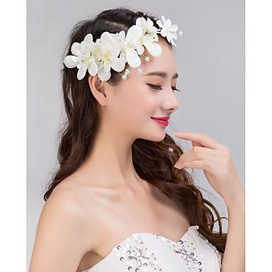 웨딩 파티 여성의 레이스 꽃 크리스탈 진주 모조 다이아몬드 헤드 밴드의 이마 헤어 보석