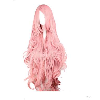 Sentetik Peruklar / Kostüm Perukları Dalgalı / Gevşek Dalgalar Pembe Bantlı Sentetik Saç Yan Parti Pembe Peruk Kadın's Çok uzun Pembe