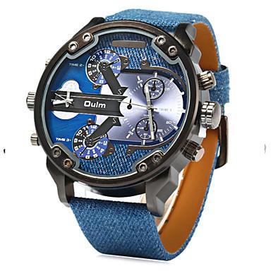 Homens Relógio de Pulso Quartzo Quartzo Japonês Dois Fusos Horários Couro Banda Amuleto Azul