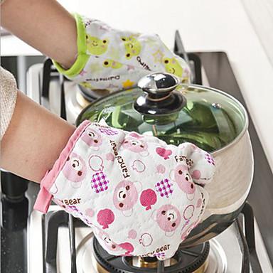 luvas luva churrasco microondas algodão forno de cozimento potenciômetro de cozimento cozinha resistente ao calor