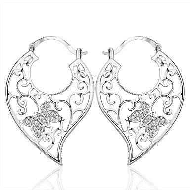 Dames Oorknopjes Clip oorbellen Zirkonia Modieus Kostuum juwelen Zirkonia Kubieke Zirkonia Koper Verzilverd Dierenvorm Vlinder Sieraden