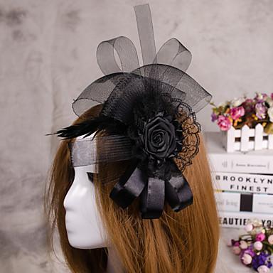 결혼식을위한 꽃 깃털 베일의 매혹 모자 머리 보석
