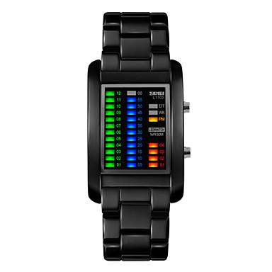 남성용 손목 시계 독특한 창조적 인 시계 디지털 LED 달력 방수 합금 밴드 블랙 실버