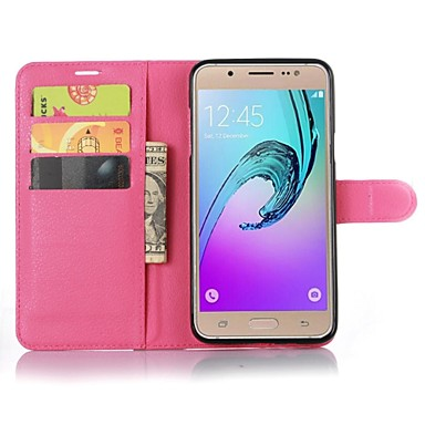 voordelige Galaxy J-serie hoesjes / covers-hoesje Voor Samsung Galaxy J7 (2016) Portemonnee / Kaarthouder / met standaard Volledig hoesje Effen Kleur PU-nahka
