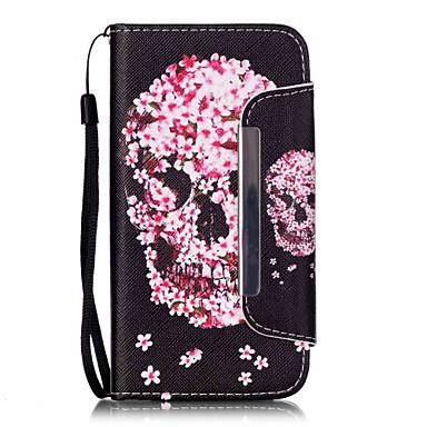 Mert Samsung Galaxy S7 Edge Pénztárca / Kártyatartó / Állvánnyal / Flip / Minta Case Teljes védelem Case Koponya Műbőr SamsungS7 edge /