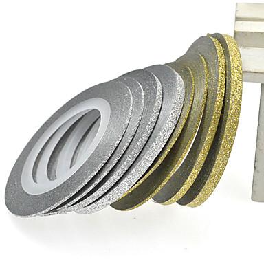 1PCS 2mm 20m의 네일 아트 골드 / 실버 반짝이 스트라이프 테이프 네일 아트 장식 도구 nc275