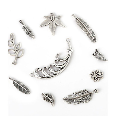 beadia antiek zilver metalen veer bedel hangers olijfboom bloem blad sieraden connectors diy accessoires