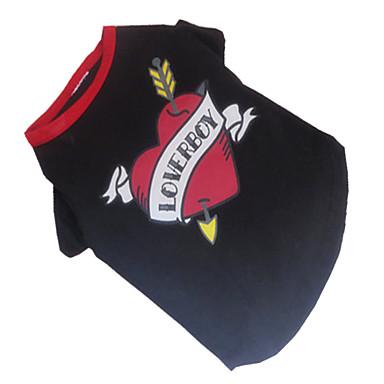 Cachorro Camiseta Roupas para Cães Respirável Coração Preto/Vermelho Ocasiões Especiais Para animais de estimação