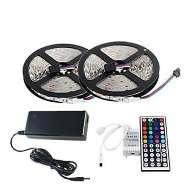 ZDM® 10m / 2x5M Işık Setleri 2*150 LED'ler 5050 SMD 1 44Keys Uzaktan Kumanda / 1 AC Kablosu / 1 x 12 V 3A Adaptörü RGB Kesilebilir / Su Geçirmez / Dekorotif 1set / IP65 / Kendinden Yapışkanlı